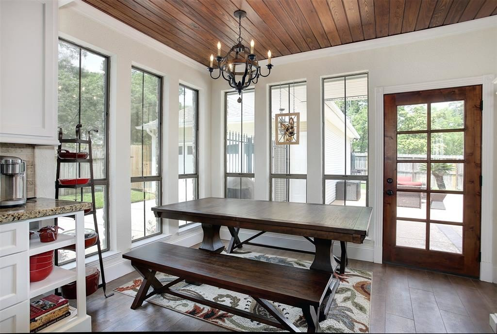 kitchen opens to breakfast dining area french door