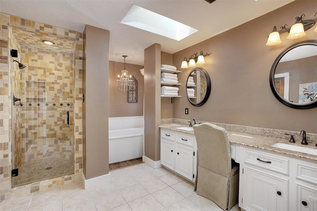 luxurious master bath double sinks tub shower