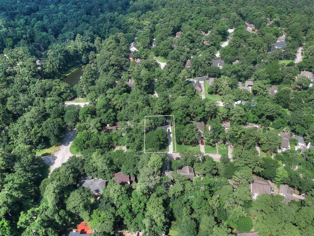 aerial view the woodlands home for sale